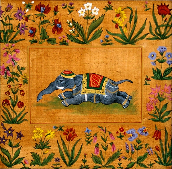 Baby Elephant Resting in Floral Border, Egg Tempera on Gesso Panel<br />h.140 x w.140 mm