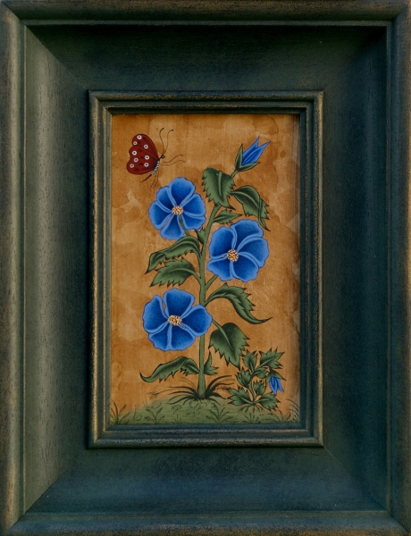 Blue Petals and Butterfly, Egg Tempera on Gesso Panel<br />h.145 x w.90 mm