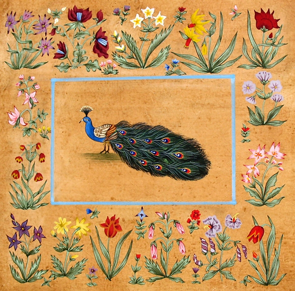Peacock in Floral Border, Egg Tempera on Gesso Panel<br />h.140 x w.140 mm