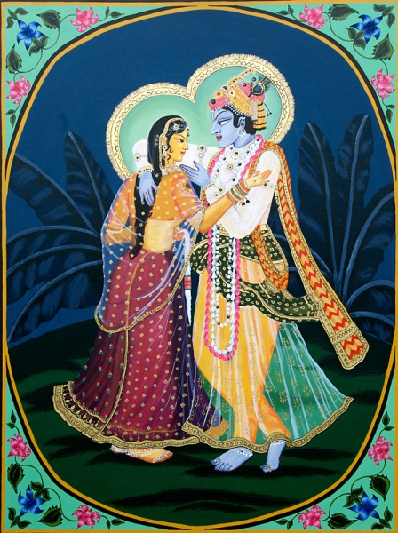Radha and Krishna Embrace, acrylic and gilding liquid on canvas.